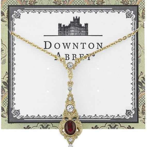 Fashion Jewelry - Downton Abbey Gold-Tone Clear and Red Crystal Pendant Drop Necklace