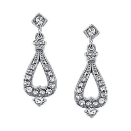 Silver-Tone Crystal Post Drop Earrings