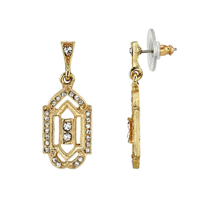 Gold Tone Crystal Post Drop Earrings