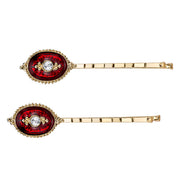 14K Gold Dipped Crystal And Red Enamel Bobby Pins Set