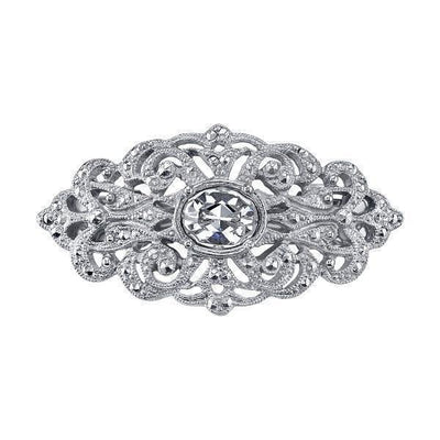 Silver-Tone Crystal Hair Barrette