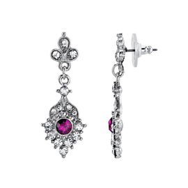 Silver-Tone Clear and Amethyst Color Crystal Drop Earrings