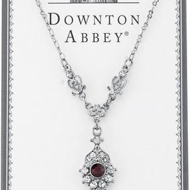 Fashion Jewelry - Downton Abbey Boxed Silver Tone Amethyst Color Crystal Drop Necklace