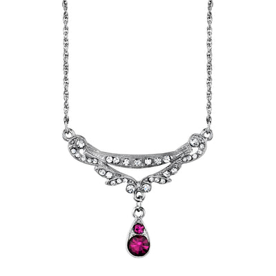 Silver-Tone Clear and Amethyst Color Crystal Necklace 16 In Adj