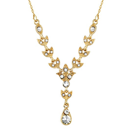 Gold-Tone Crystal Y Necklace