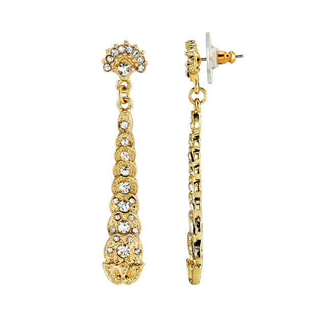 Gold Tone Crystal Linear Post Drop Earrings