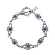 Silver Tone Crystal And Blue Crystal Toggle Bracelet