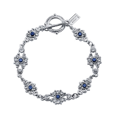 Silver-Tone Crystal And Blue Crystal Toggle Bracelet