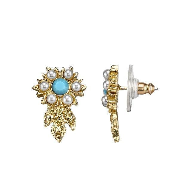 14K Gold Dipped  Costume Pearl And Imitation Turquoise Flower Earrings