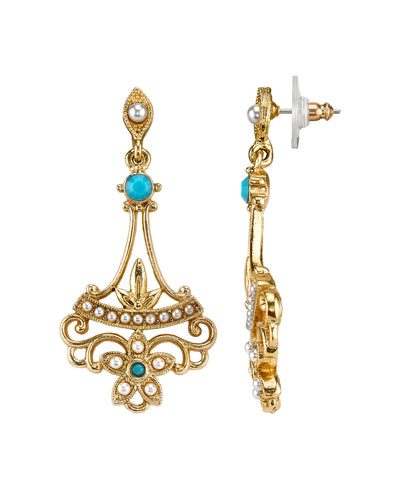 14K Gold Dipped Costume Pearl And Imitation Turquoise Drop Earrings