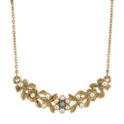 14K Gold-Dipped Costume Pearl And Imitation Turquoise Necklace 16 - 19 Inch Adjustable