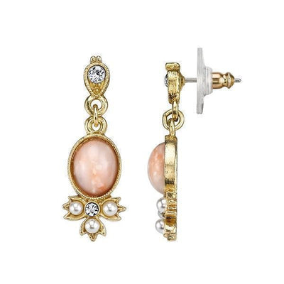 14K Gold-Dipped  Peach Color Costume Pearl and Crystal Drop Earrings