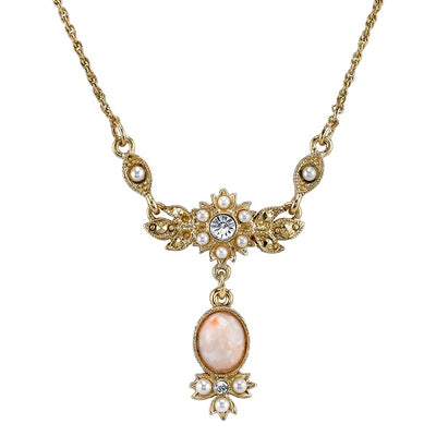 14K Gold-Dipped Peach Color Costume Pearl and Crystal Necklace 16 In Adj