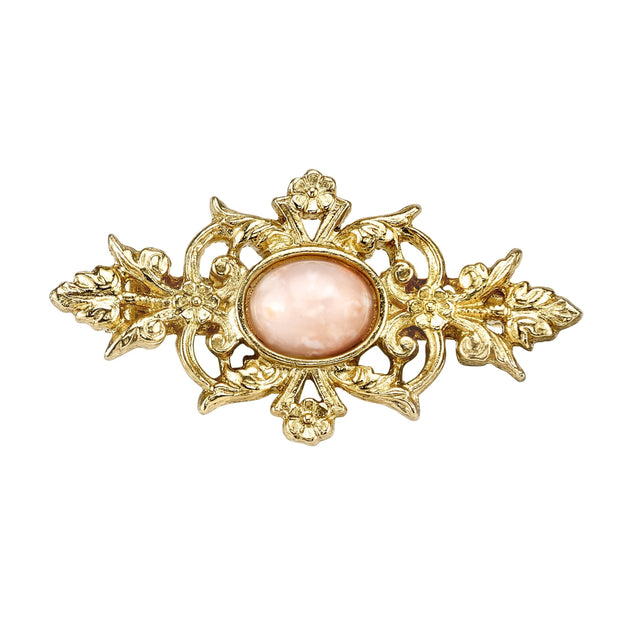 14K Gold Dipped And Peach Color Stone Pin