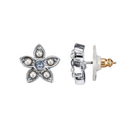 Silver-Tone Costume Pearl And Light Blue Crystal Flower Button Earrings