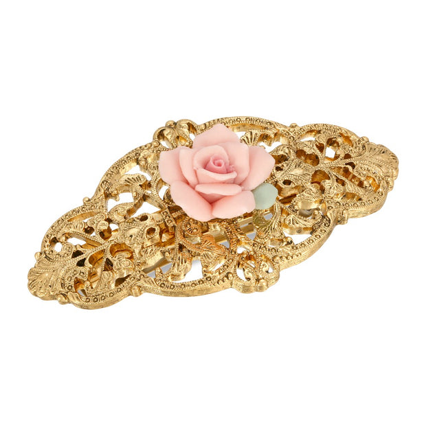 Gold-Tone Pink Porcelain Rose Hair Barrette