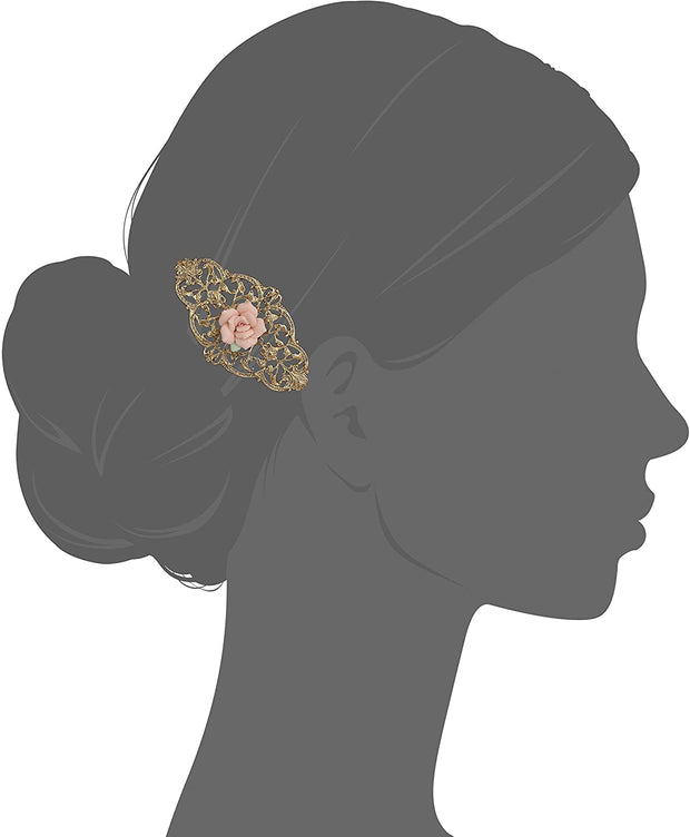 1928 Jewelry Gold Tone Filigree Pink Porcelain Rose Hair Barrette