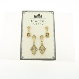 Boxed Gold-Tone Filigree and Crystal Drop Earrings Set