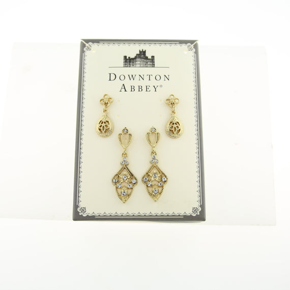 Fashion Jewelry - Downton Abbey Boxed Gold Tone Filigree & Crystal Drop Earrings Set