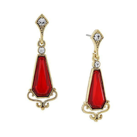Fashion Jewelry - Downton Abbey 14K Gold Dipped Red and Crystal Drop Earrings