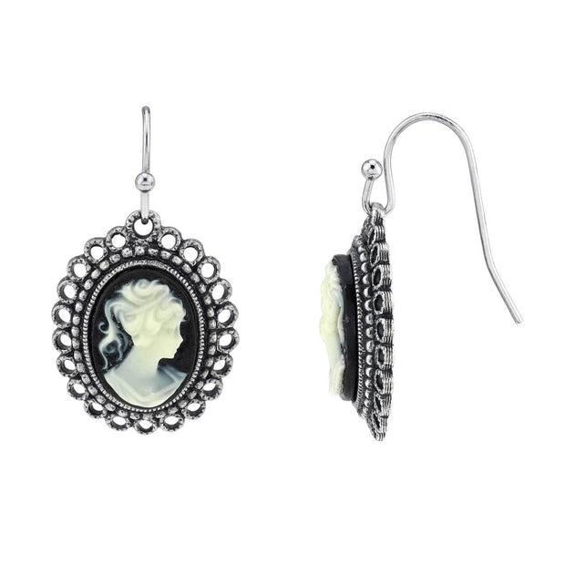 Silver Tone Black Oval Cameo Wire Drop Earrings