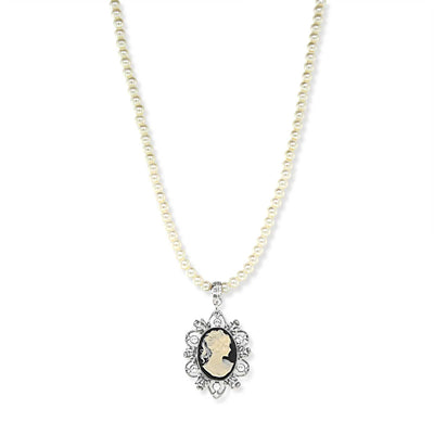 Silver Tone Black Oval Cameo Costume Pearl Necklace