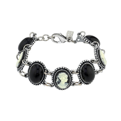 Silver Tone Oval Black Stone And Cameo Link Bracelet
