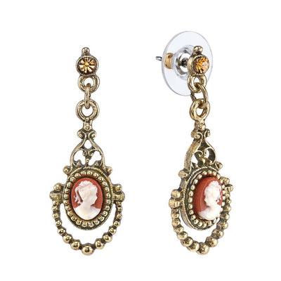14K Gold Dipped Carnelian Cameo Drop Earring
