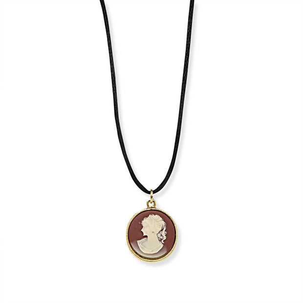14K Gold-Dipped Carnelian Cameo with Black Cord Necklace 15 In Adj
