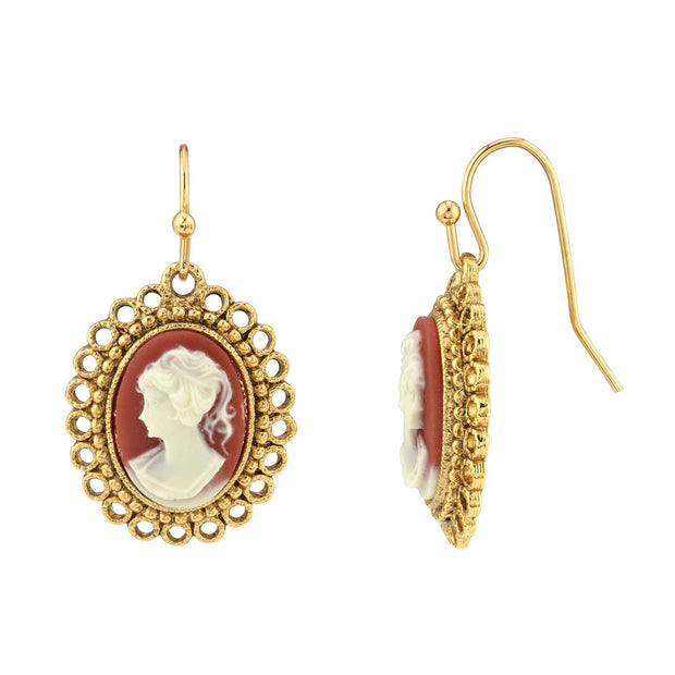 14K Gold Dipped  Carnelian Cameo Oval Drop Wire Earrings