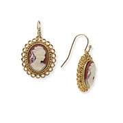 Downton Abbey Oval Cameo Wire Drop Earrings