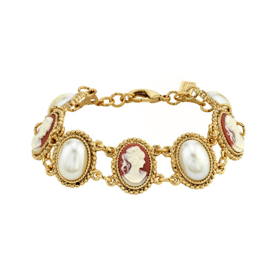 14K Gold-Dipped Carnelian Cameo And Costume Pearl Bracelet