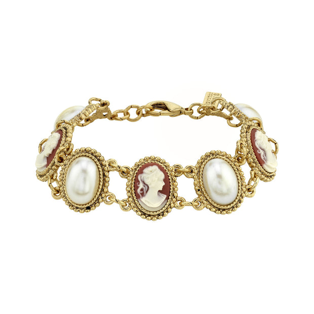 Gold Tone White Oval Stone And Cameo Link Bracelet