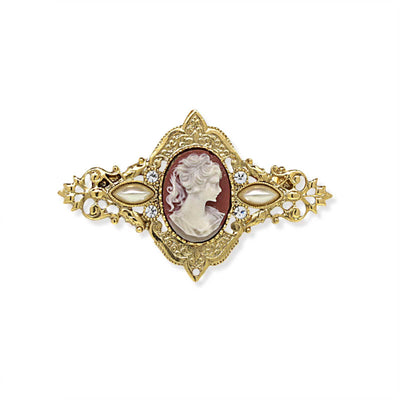 14K Gold-Dipped  Carnelian Cameo Oval Bar Pin