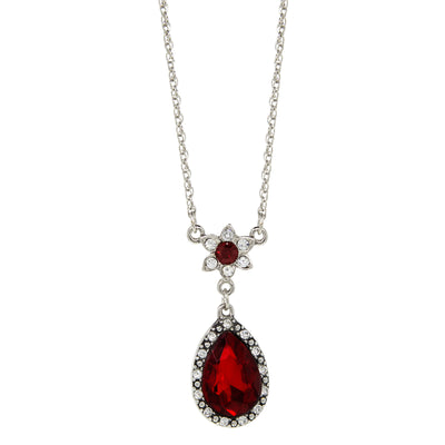 Silver Tone Crystal Flower Red Teardrop Pendant Necklace 16 In Adj