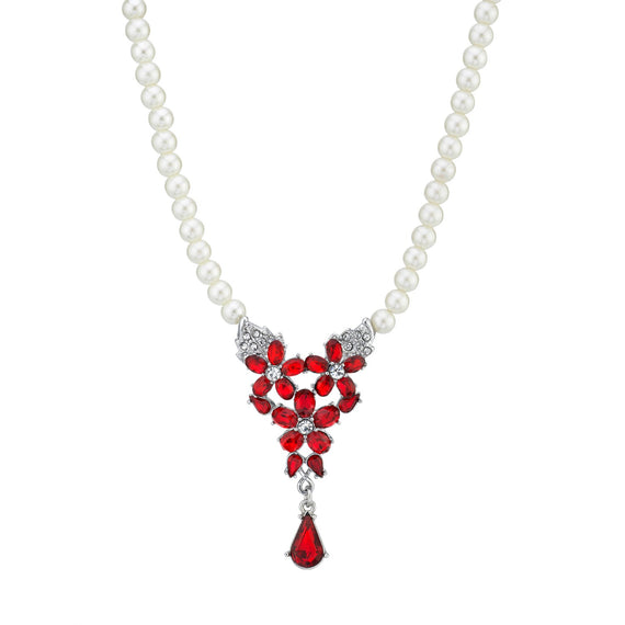 Silver Tone Clear & Red Crystal Teardrop Costume Pearl Necklace