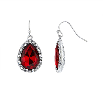 Silver Tone Crystal Accent Red Teardrop Wire Earrings