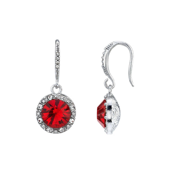 Silver Tone Round Red Crystal with Clear Crystal Accents Earrings