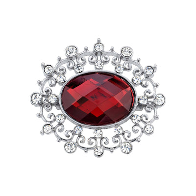 Silver Tone Crystal Accent Red Oval Pin