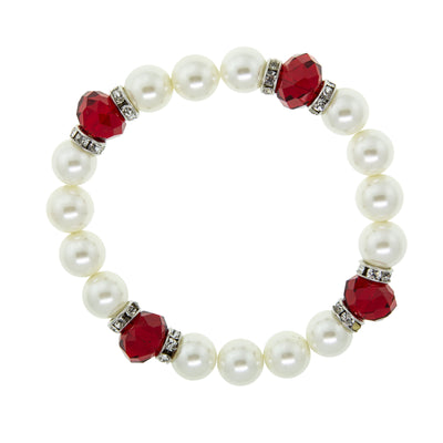 Silver Tone Red Crystal Costume Pearl Stretch Bracelet