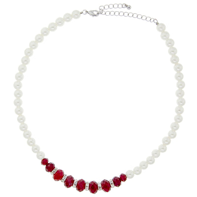 Silver Tone Red Beads Crystal Rondells &  Costume Pearl Necklace 15 In Adj