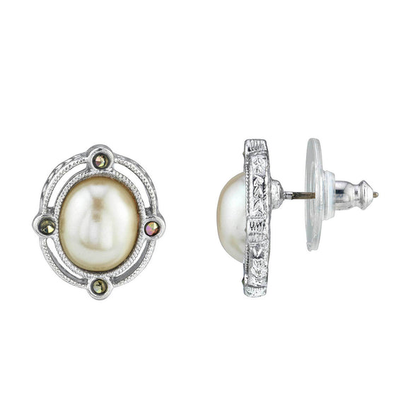Silver Tone Crystal Pearl Round Button Earrings