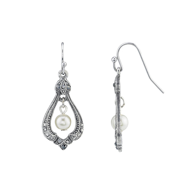 Silver Tone Costume Pearl Marcasite Drop Wire Earrings