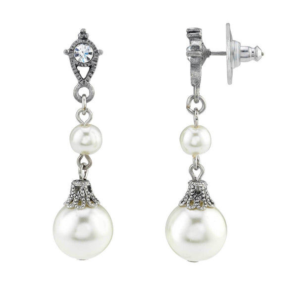 Silver Tone Crystal And Costume Pearl Drop Earrings