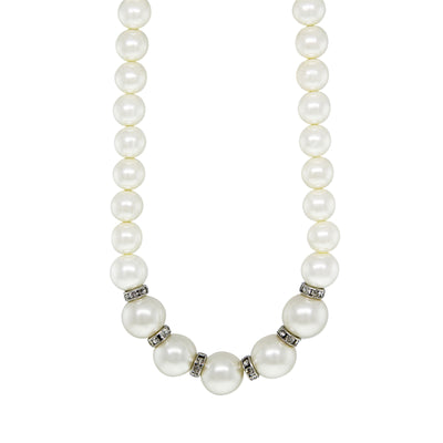 Silver Tone Costume Pearl With Crystal Rondelles Necklace 16 - 19 Inch Adjustable