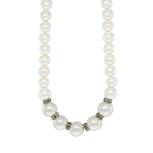 Silver Tone Costume Pearl with Crystal Rondelles Necklace