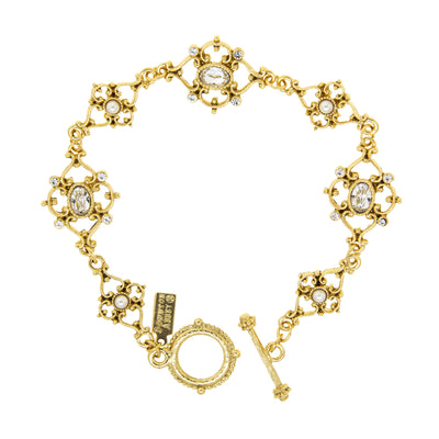 14K Gold Dipped  Crystal Link Toggle Bracelet