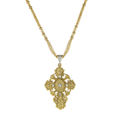14K Gold Dipped  Crystal Cross Necklace 18 Inch