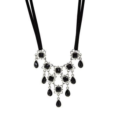 Silver Tone Black Ribbon Black Stone Drop Bib Necklace 16 Inch