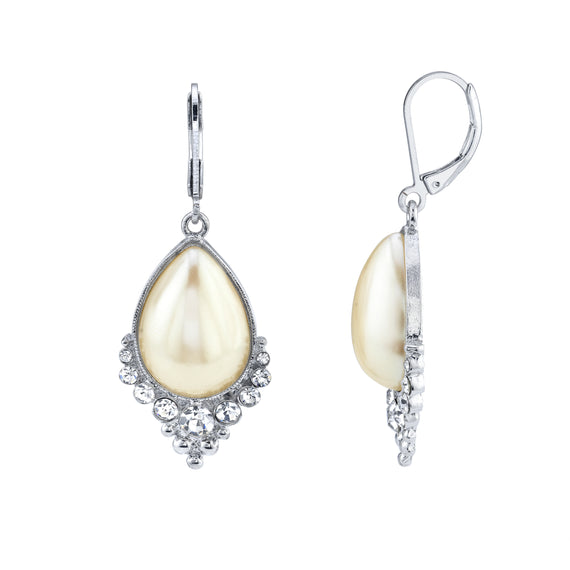 Silver Tone Crystal and Costume Pearl Teardrop Earrings